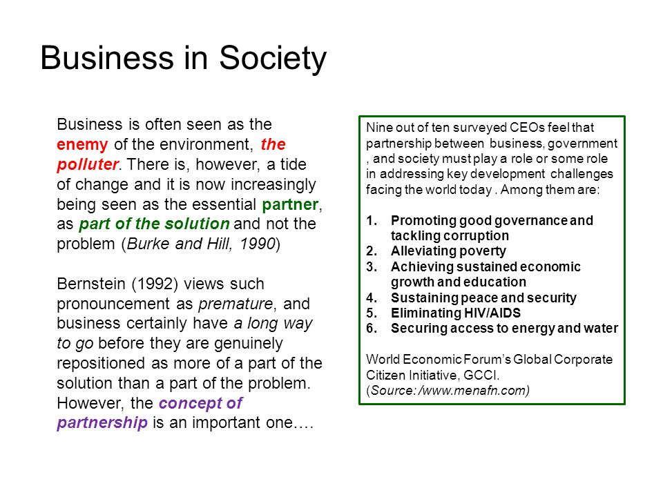 Business in Society Business is often seen as the enemy of the environment, the polluter.