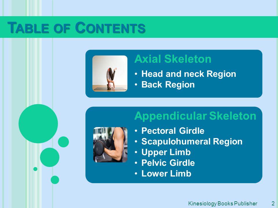 Axial Skeleton Head and neck Region Back Region Appendicular Skeleton Pectoral Girdle Scapulohumeral Region Upper Limb Pelvic Girdle Lower Limb T ABLE
