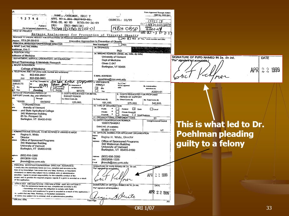 ORI 1/0733 This is what led to Dr. Poehlman pleading guilty to a felony
