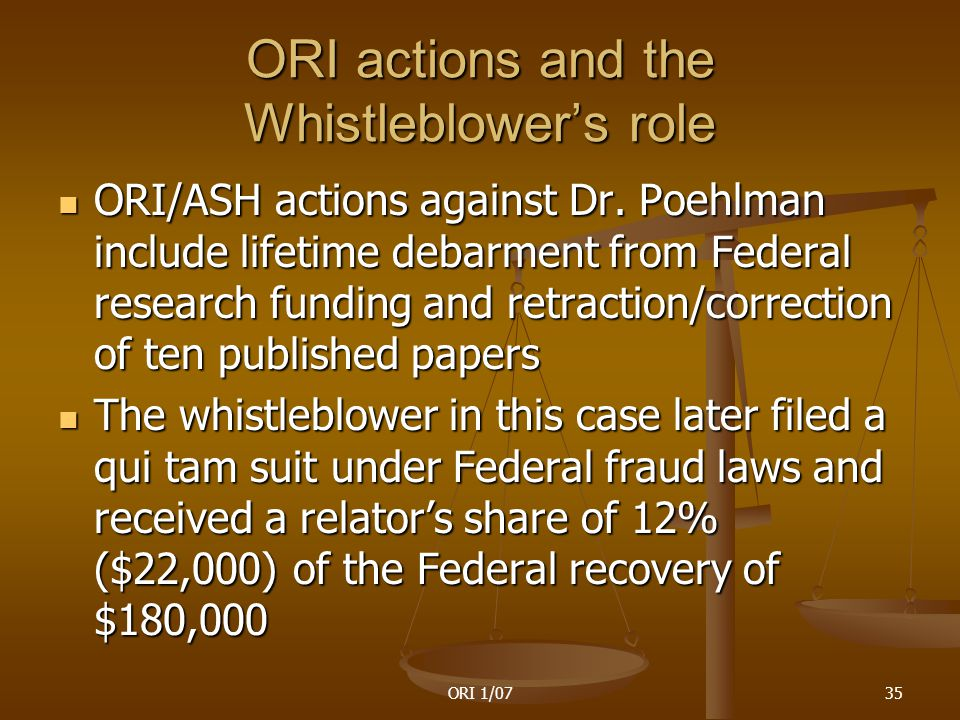 ORI 1/0735 ORI actions and the Whistleblower's role ORI/ASH actions against Dr.