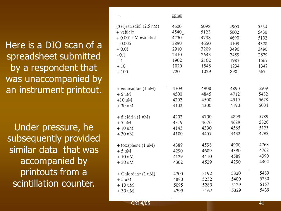 ORI 4/0541 Here is a DIO scan of a spreadsheet submitted by a respondent that was unaccompanied by an instrument printout.