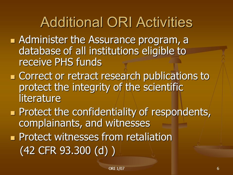 ORI 1/0767 The Nine Elements of RCR 1.Acquisition, management, sharing and ownership of data 2.