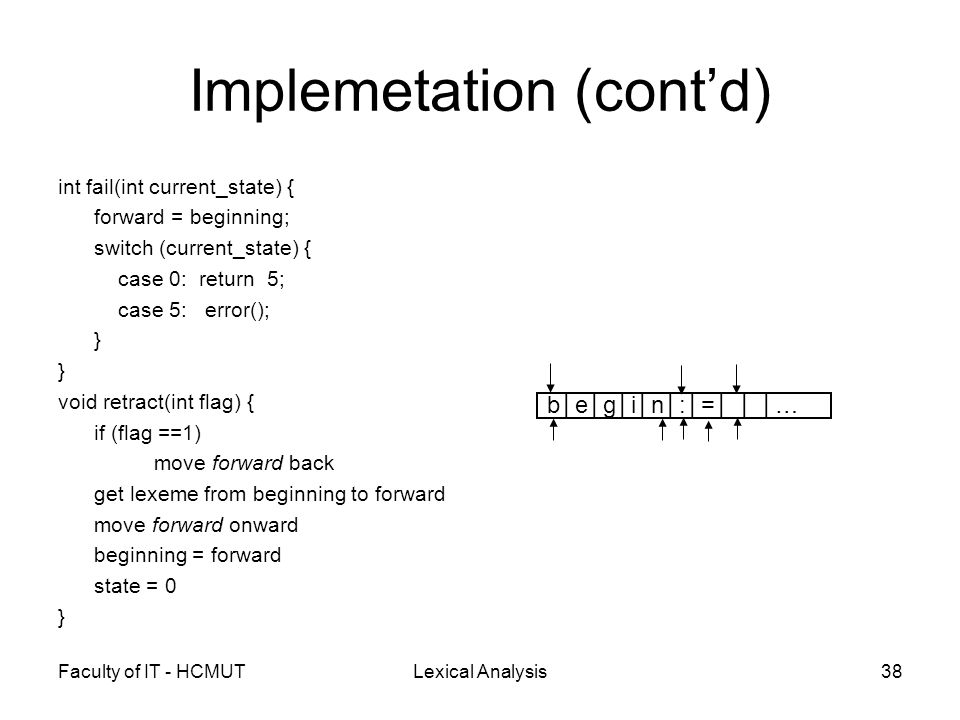 Faculty of IT - HCMUTLexical Analysis38 Implemetation (cont'd) int fail(int current_state) { forward = beginning; switch (current_state) { case 0: ret