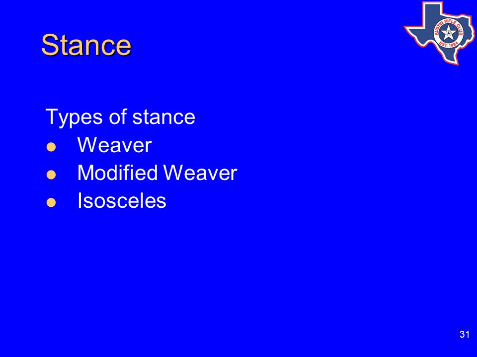 31 Stance Stance Types of stance Weaver Modified Weaver Isosceles