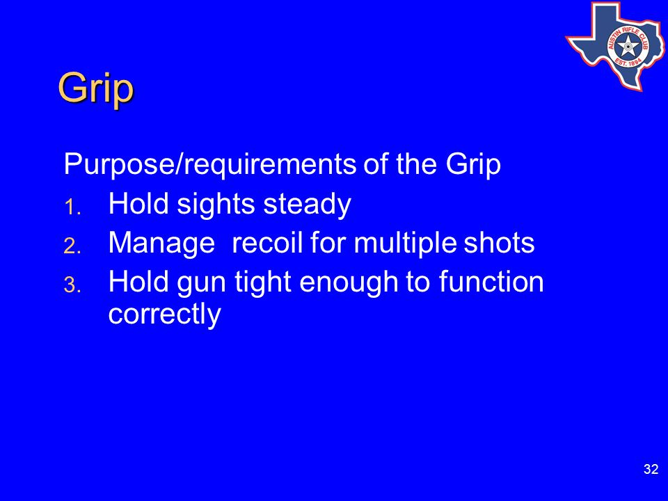 32 Grip Purpose/requirements of the Grip 1.Hold sights steady 2.