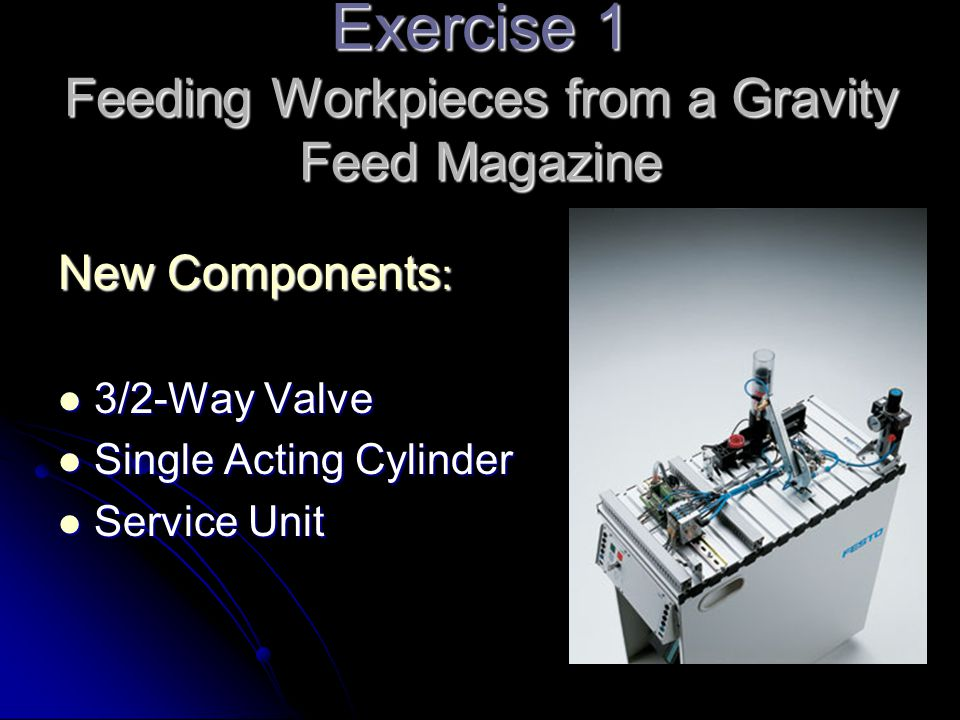 Exercise 1 Feeding Workpieces from a Gravity Feed Magazine New Components : 3/2-Way Valve 3/2-Way Valve Single Acting Cylinder Single Acting Cylinder