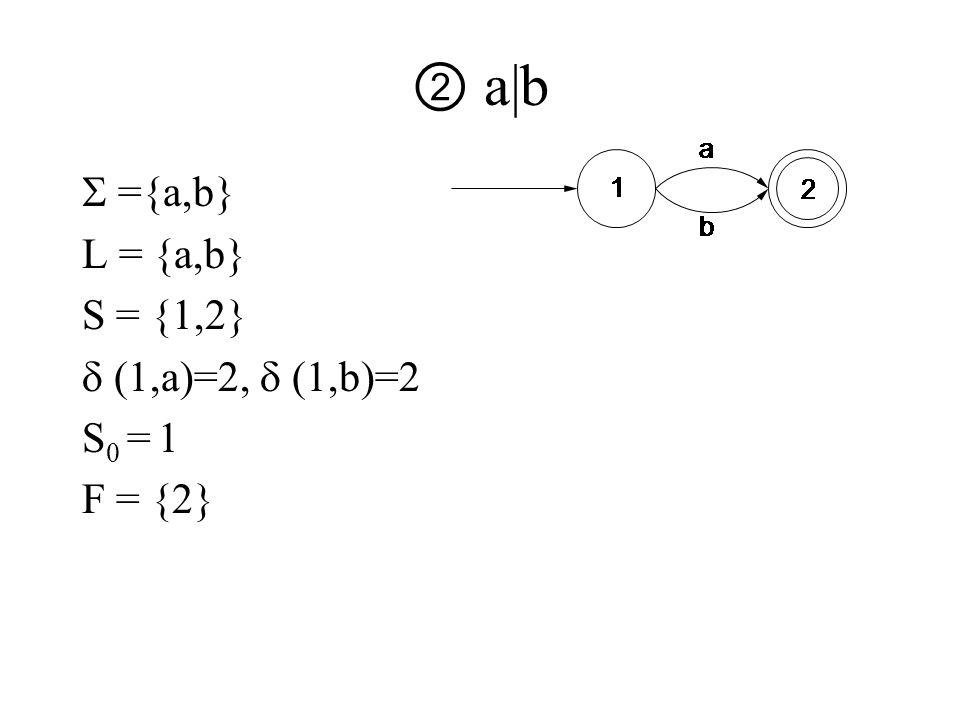 ② a|b  ={a,b} L = {a,b} S = {1,2}  (1,a)=2,  (1,b)=2 S 0 = 1 F = {2}