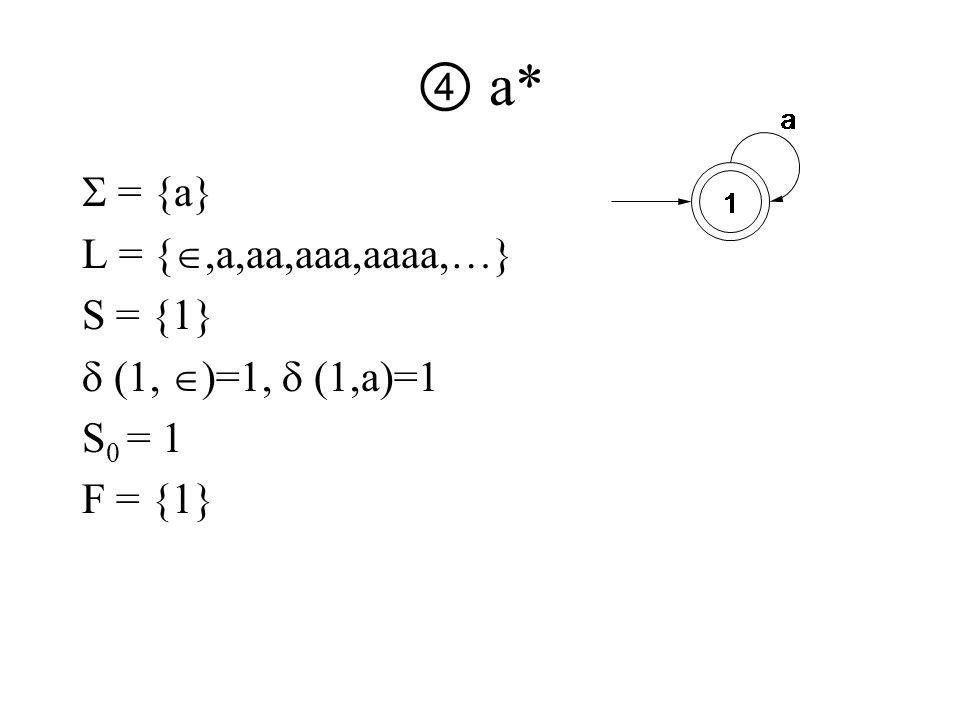 ④ a*  = {a} L = { ,a,aa,aaa,aaaa,…} S = {1}  (1,  )=1,  (1,a)=1 S 0 = 1 F = {1}