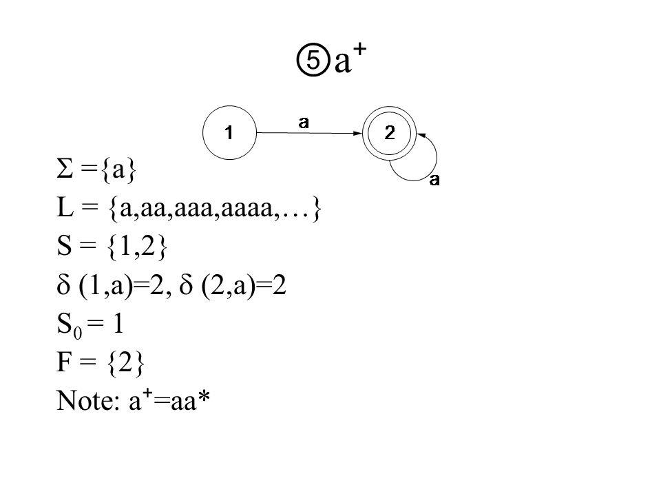 ⑤a⁺⑤a⁺  ={a} L = {a,aa,aaa,aaaa,…} S = {1,2}  (1,a)=2,  (2,a)=2 S 0 = 1 F = {2} Note: a ⁺ =aa*