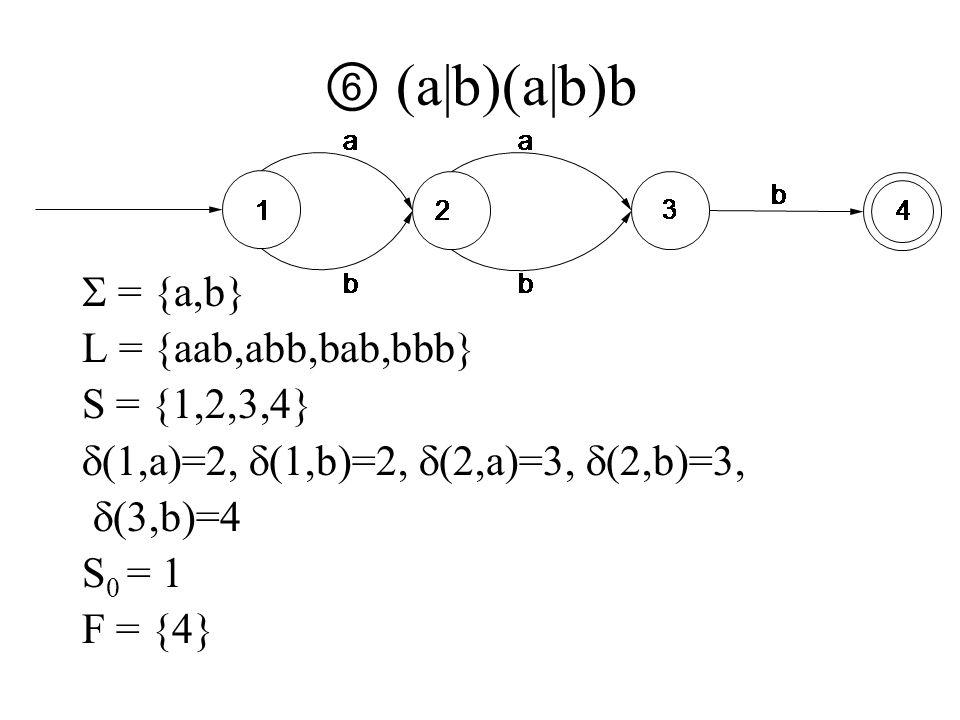 ⑥ (a|b)(a|b)b  = {a,b} L = {aab,abb,bab,bbb} S = {1,2,3,4}  (1,a)=2,  (1,b)=2,  (2,a)=3,  (2,b)=3,  (3,b)=4 S 0 = 1 F = {4}