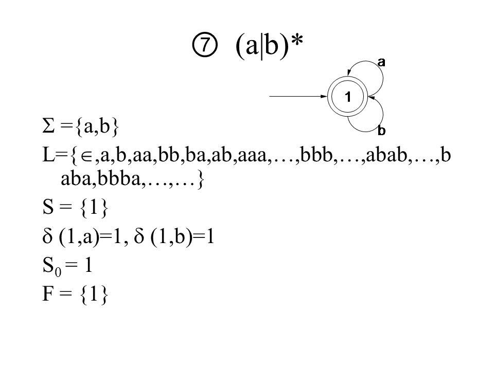 ⑦ (a|b)*  ={a,b} L={ ,a,b,aa,bb,ba,ab,aaa,…,bbb,…,abab,…,b aba,bbba,…,…} S = {1}  (1,a)=1,  (1,b)=1 S 0 = 1 F = {1}
