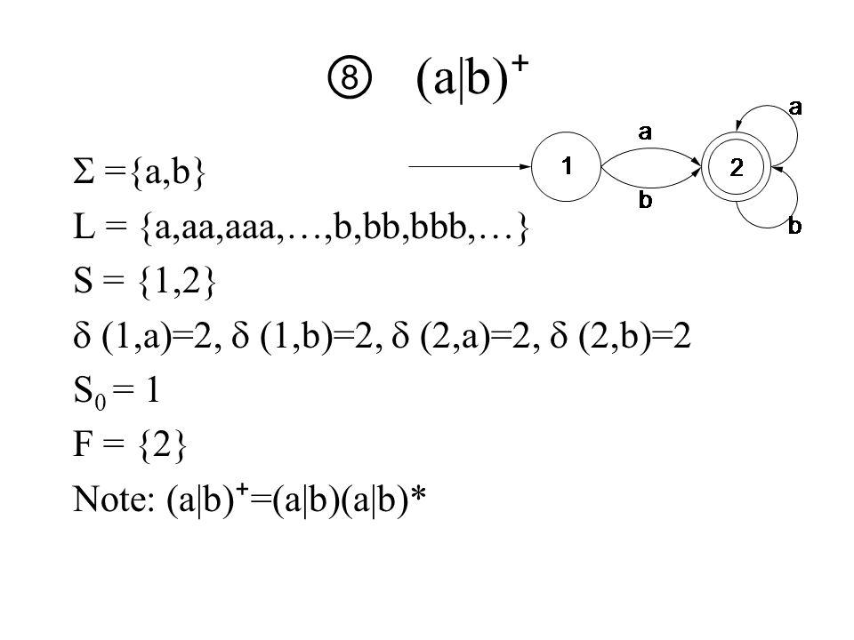 ⑧ (a|b) ⁺  ={a,b} L = {a,aa,aaa,…,b,bb,bbb,…} S = {1,2}  (1,a)=2,  (1,b)=2,  (2,a)=2,  (2,b)=2 S 0 = 1 F = {2} Note: (a|b) ⁺ =(a|b)(a|b)*