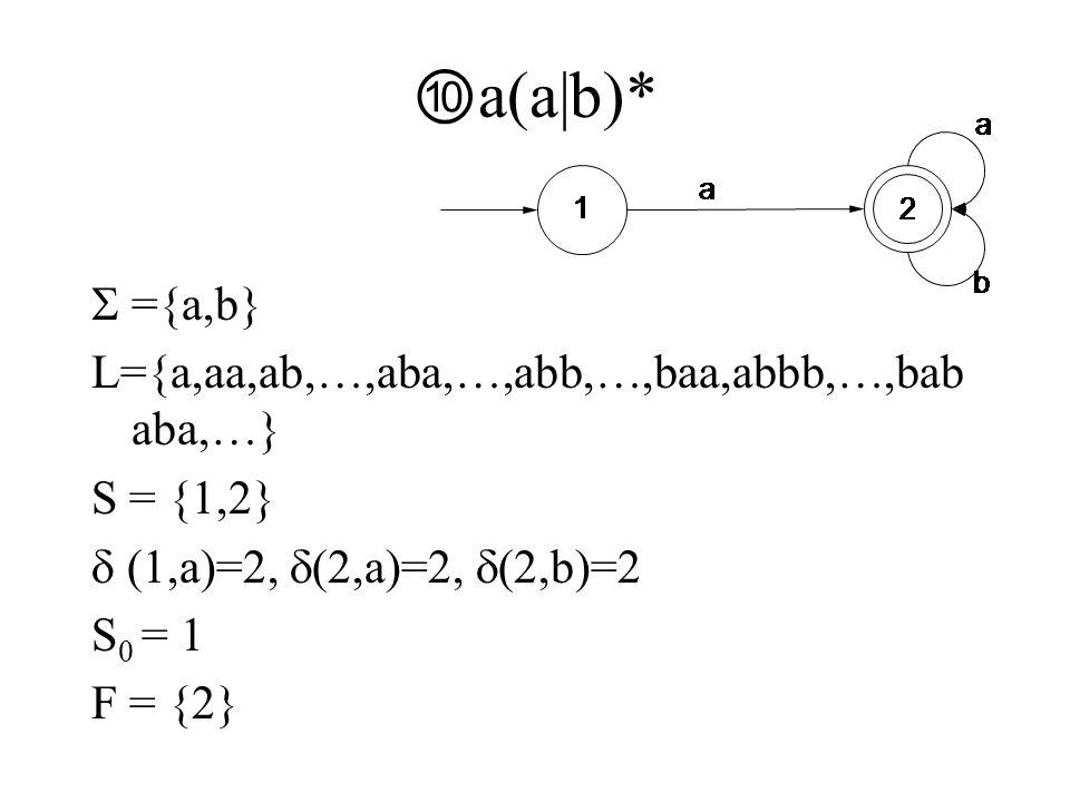 ⑩ a(a|b)*  ={a,b} L={a,aa,ab,…,aba,…,abb,…,baa,abbb,…,bab aba,…} S = {1,2}  (1,a)=2,  (2,a)=2,  (2,b)=2 S 0 = 1 F = {2}