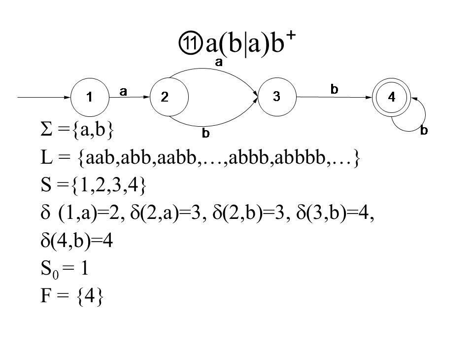 ⑪ a(b|a)b ⁺  ={a,b} L = {aab,abb,aabb,…,abbb,abbbb,…} S ={1,2,3,4}  (1,a)=2,  (2,a)=3,  (2,b)=3,  (3,b)=4,  (4,b)=4 S 0 = 1 F = {4}