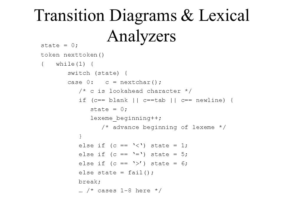 Transition Diagrams & Lexical Analyzers state = 0; token nexttoken() { while(1) { switch (state) { case 0: c = nextchar(); /* c is lookahead character */ if (c== blank || c==tab || c== newline) { state = 0; lexeme_beginning++; /* advance beginning of lexeme */ } else if (c == '<') state = 1; else if (c == '=') state = 5; else if (c == '>') state = 6; else state = fail(); break; … /* cases 1-8 here */