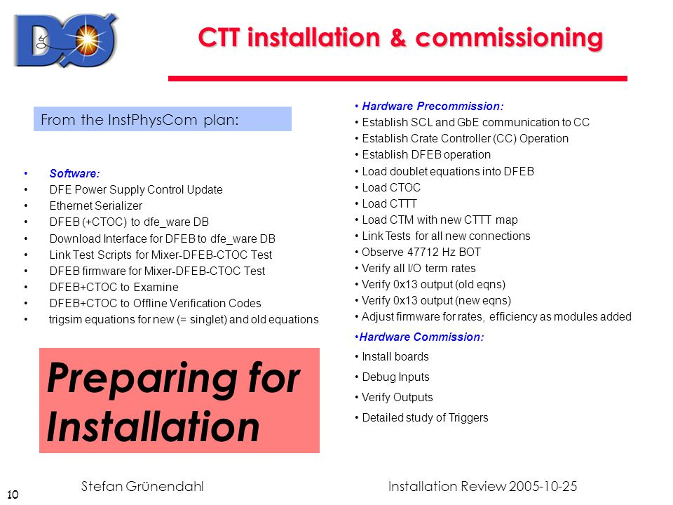 10 Installation Review 2005-10-25Stefan Grünendahl CTT installation & commissioning Software: DFE Power Supply Control Update Ethernet Serializer DFEB (+CTOC) to dfe_ware DB Download Interface for DFEB to dfe_ware DB Link Test Scripts for Mixer-DFEB-CTOC Test DFEB firmware for Mixer-DFEB-CTOC Test DFEB+CTOC to Examine DFEB+CTOC to Offline Verification Codes trigsim equations for new (= singlet) and old equations Hardware Precommission: Establish SCL and GbE communication to CC Establish Crate Controller (CC) Operation Establish DFEB operation Load doublet equations into DFEB Load CTOC Load CTTT Load CTM with new CTTT map Link Tests for all new connections Observe 47712 Hz BOT Verify all I/O term rates Verify 0x13 output (old eqns) Verify 0x13 output (new eqns) Adjust firmware for rates, efficiency as modules added Hardware Commission: Install boards Debug Inputs Verify Outputs Detailed study of Triggers From the InstPhysCom plan: Preparing for Installation