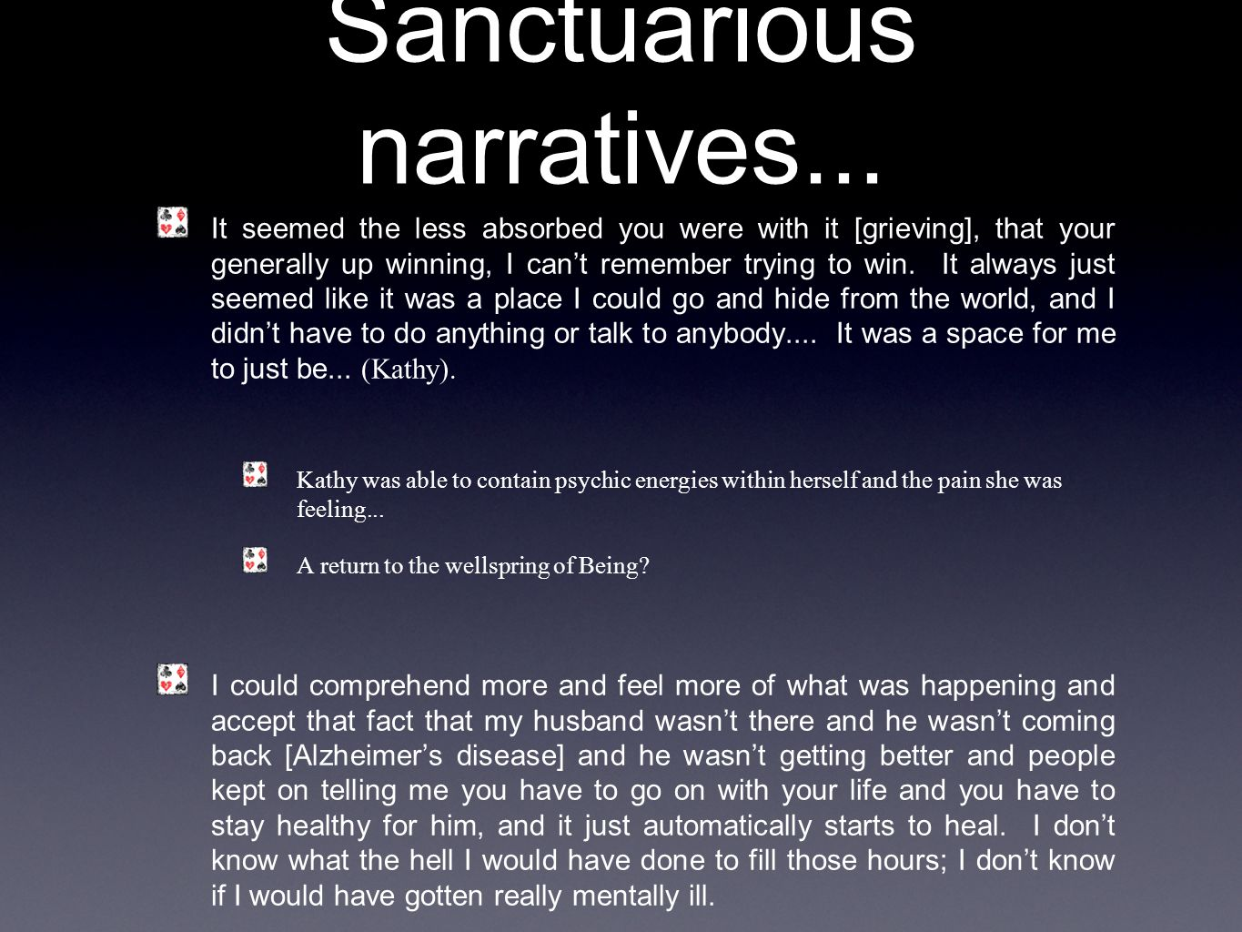 Sanctuarious narratives...