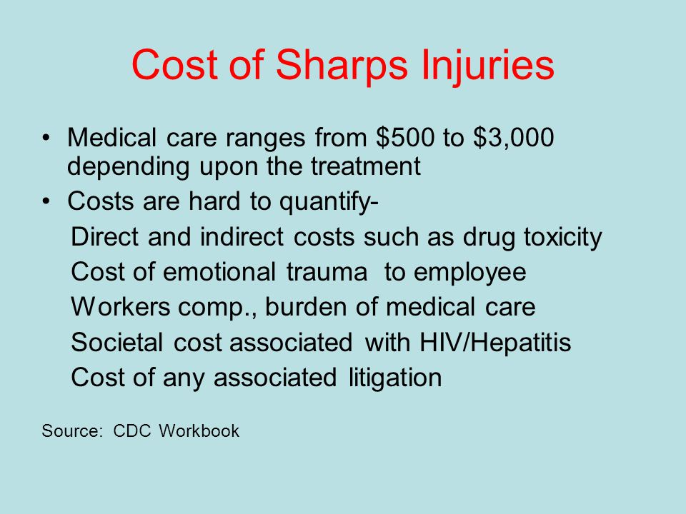 Cost of Sharps Injuries Medical care ranges from $500 to $3,000 depending upon the treatment Costs are hard to quantify- Direct and indirect costs such as drug toxicity Cost of emotional trauma to employee Workers comp., burden of medical care Societal cost associated with HIV/Hepatitis Cost of any associated litigation Source: CDC Workbook