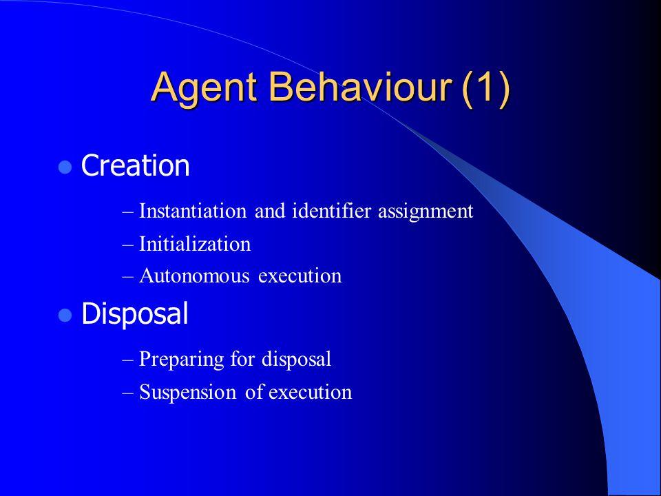 Agent Behaviour (1) Creation – Instantiation and identifier assignment – Initialization – Autonomous execution Disposal – Preparing for disposal – Sus
