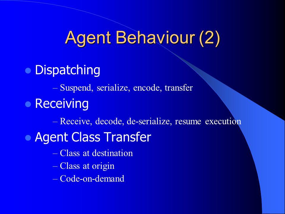 Agent Behaviour (2) Dispatching – Suspend, serialize, encode, transfer Receiving – Receive, decode, de-serialize, resume execution Agent Class Transfe
