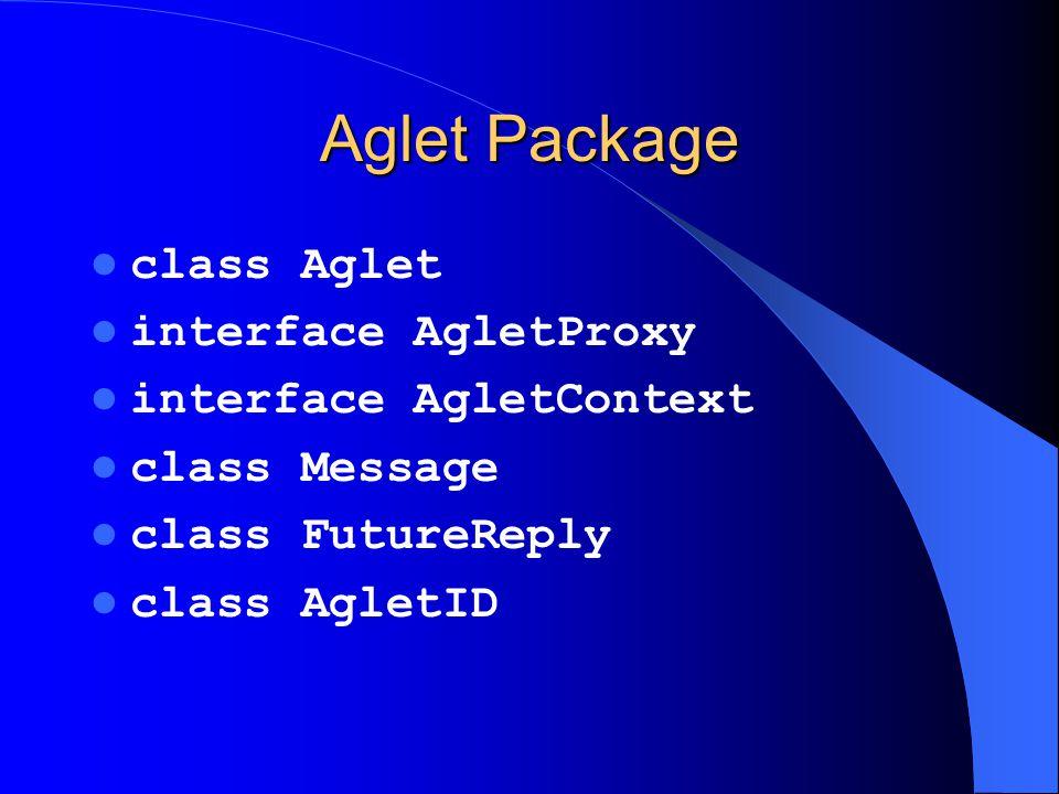 Aglet Package class Aglet interface AgletProxy interface AgletContext class Message class FutureReply class AgletID