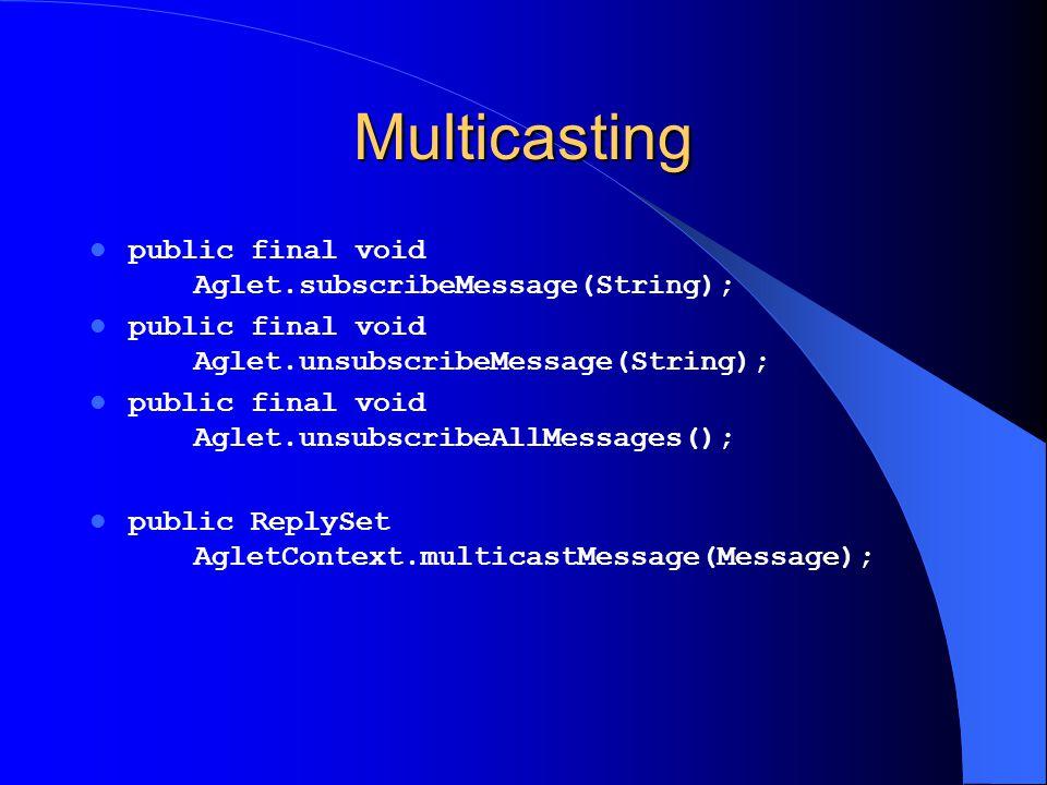 Multicasting public final void Aglet.subscribeMessage(String); public final void Aglet.unsubscribeMessage(String); public final void Aglet.unsubscribe