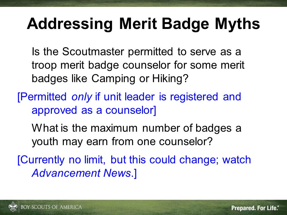 Is the Scoutmaster permitted to serve as a troop merit badge counselor for some merit badges like Camping or Hiking? [Permitted only if unit leader is