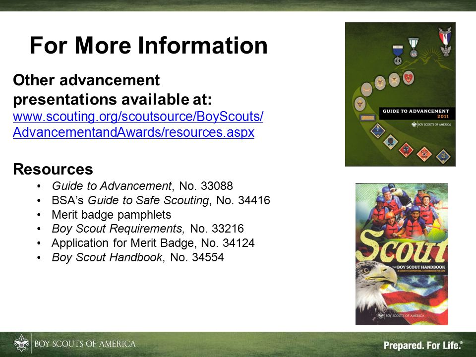 Resources Guide to Advancement, No. 33088 BSA's Guide to Safe Scouting, No. 34416 Merit badge pamphlets Boy Scout Requirements, No. 33216 Application