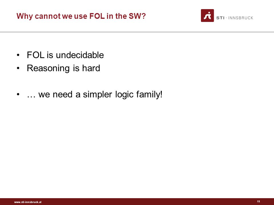 www.sti-innsbruck.at Why cannot we use FOL in the SW.