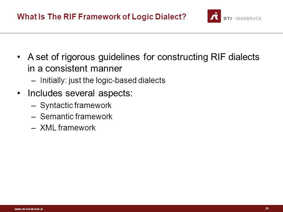 www.sti-innsbruck.at What Is The RIF Framework of Logic Dialect.