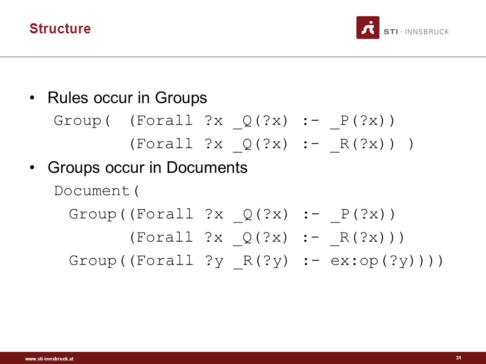 www.sti-innsbruck.at Structure Rules occur in Groups Group((Forall x _Q( x) :- _P( x)) (Forall x _Q( x) :- _R( x)) ) Groups occur in Documents Document( Group((Forall x _Q( x) :- _P( x)) (Forall x _Q( x) :- _R( x))) Group((Forall y _R( y) :- ex:op( y)))) 31