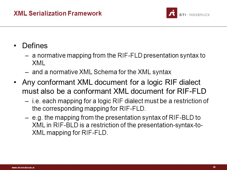 www.sti-innsbruck.at XML Serialization Framework Defines –a normative mapping from the RIF-FLD presentation syntax to XML –and a normative XML Schema for the XML syntax Any conformant XML document for a logic RIF dialect must also be a conformant XML document for RIF-FLD –i.e.