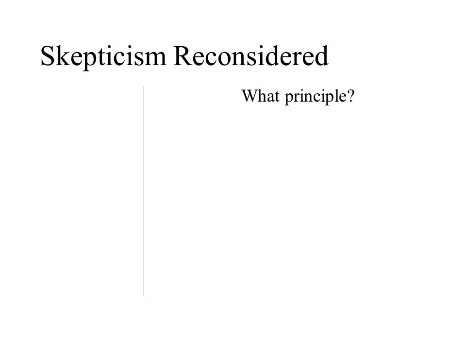 Skepticism Reconsidered What principle