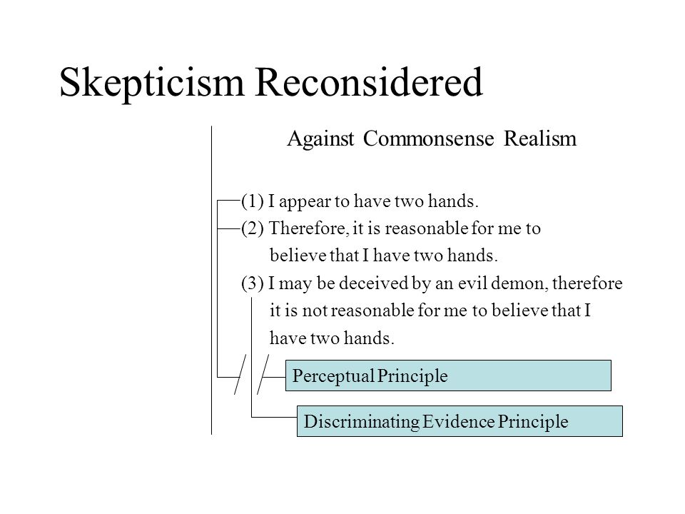 Skepticism Reconsidered Against Commonsense Realism (1) I appear to have two hands.