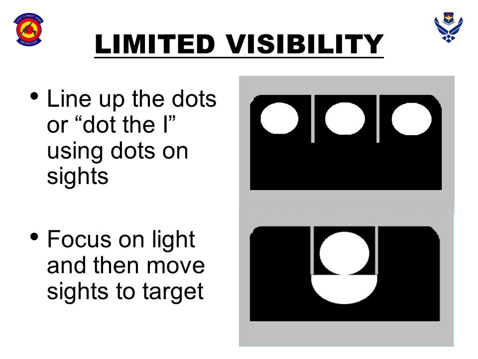 """LIMITED VISIBILITY Line up the dots or """"dot the I"""" using dots on sights Focus on light and then move sights to target"""