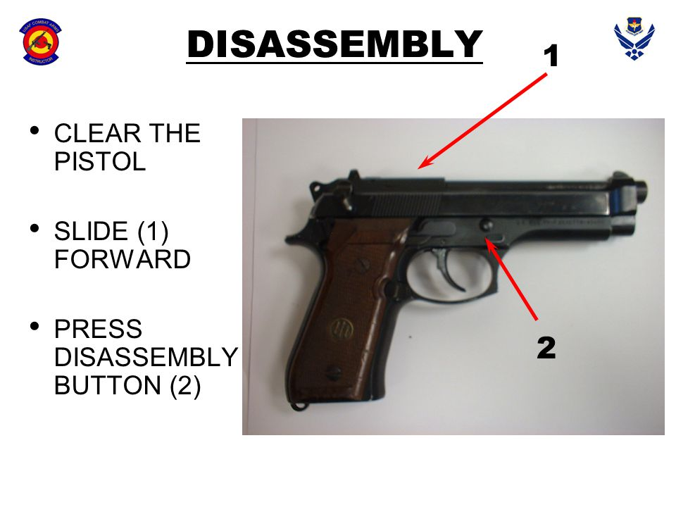 DISASSEMBLY CLEAR THE PISTOL SLIDE (1) FORWARD PRESS DISASSEMBLY BUTTON (2) 1 2
