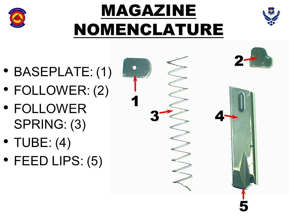 MAGAZINE NOMENCLATURE BASEPLATE: (1) FOLLOWER: (2) FOLLOWER SPRING: (3) TUBE: (4) FEED LIPS: (5) 1 2 34 5
