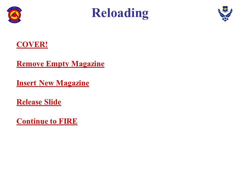 Reloading COVER! Remove Empty Magazine Insert New Magazine Release Slide Continue to FIRE