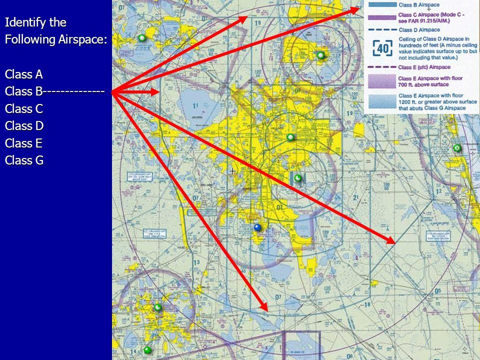 Identify the Following Airspace: Class A Class B-------------- Class C Class D Class E Class G
