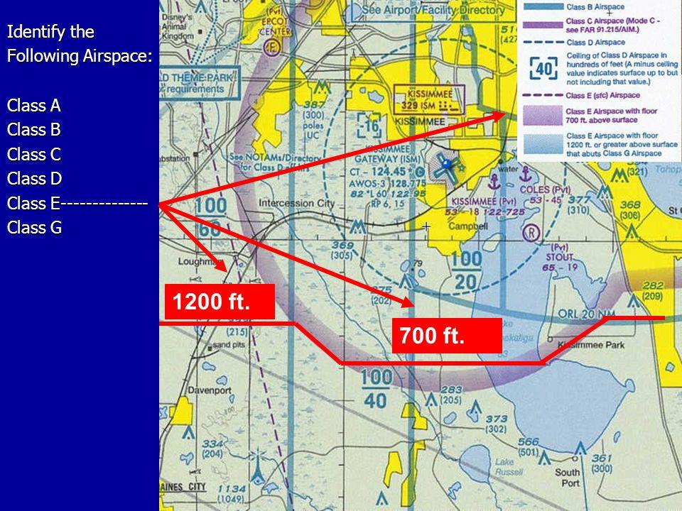 Identify the Following Airspace: Class A Class B Class C Class D Class E-------------- Class G 1200 ft.