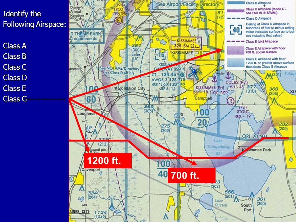 Identify the Following Airspace: Class A Class B Class C Class D Class E Class G-------------- 1200 ft.