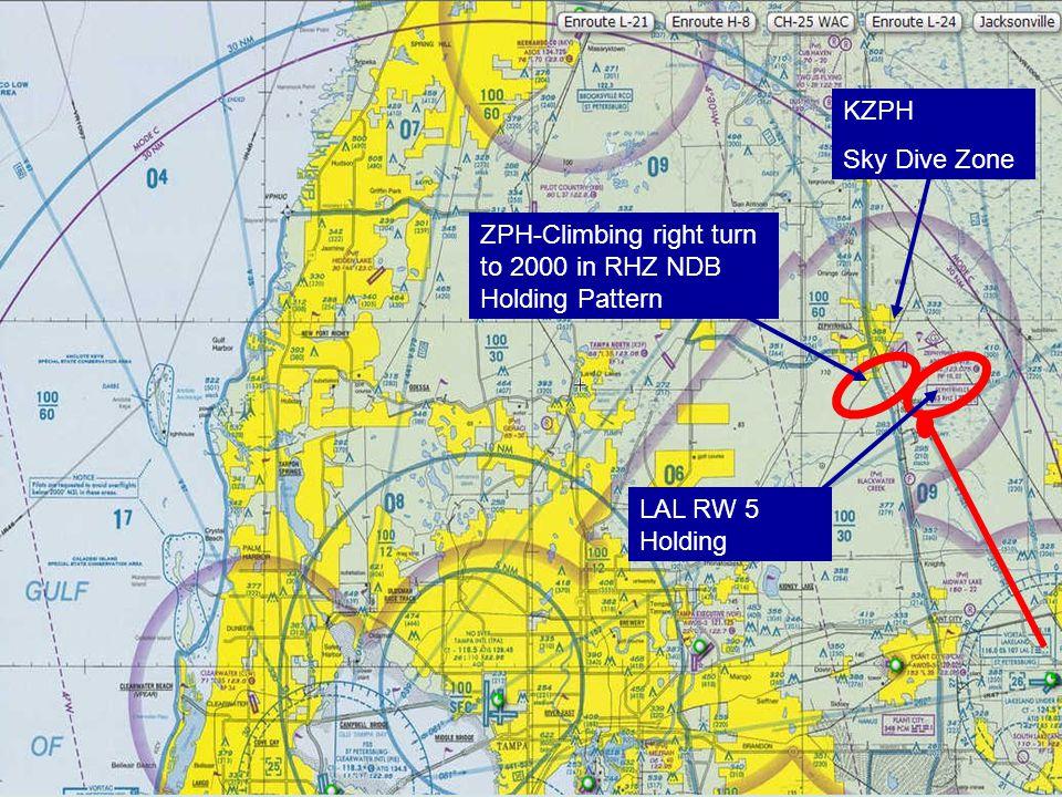 ZPH-Climbing right turn to 2000 in RHZ NDB Holding Pattern KZPH Sky Dive Zone LAL RW 5 Holding
