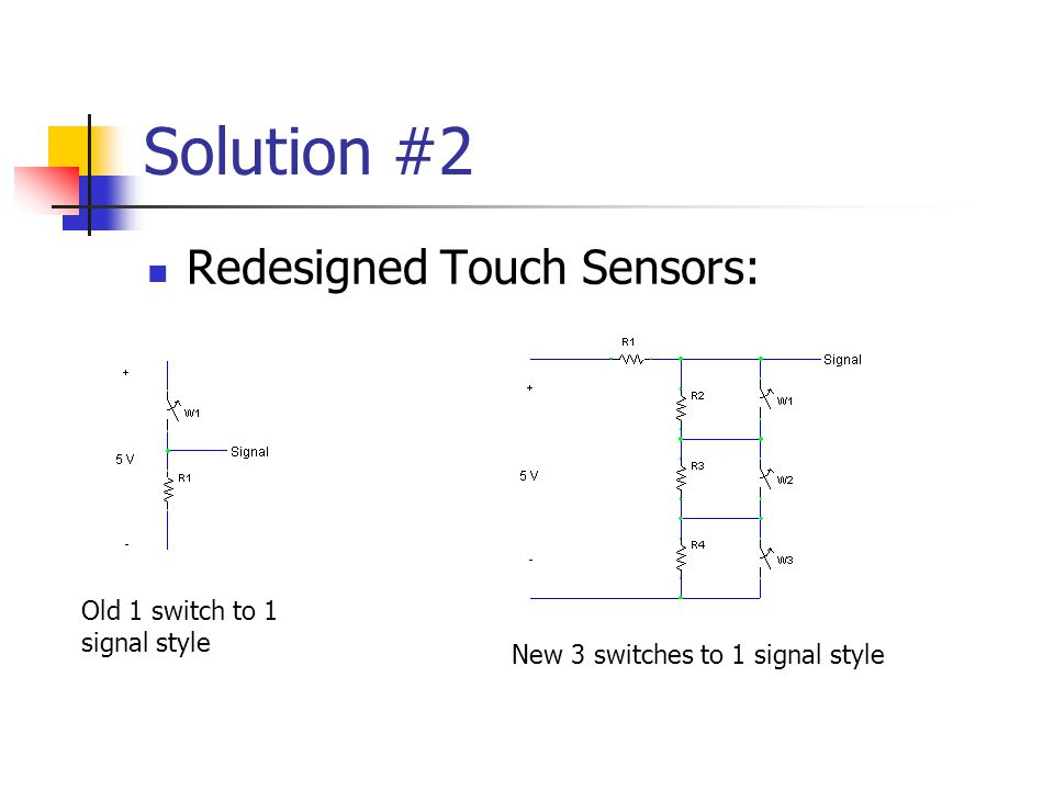 Solution #2 Redesigned Touch Sensors: Old 1 switch to 1 signal style New 3 switches to 1 signal style