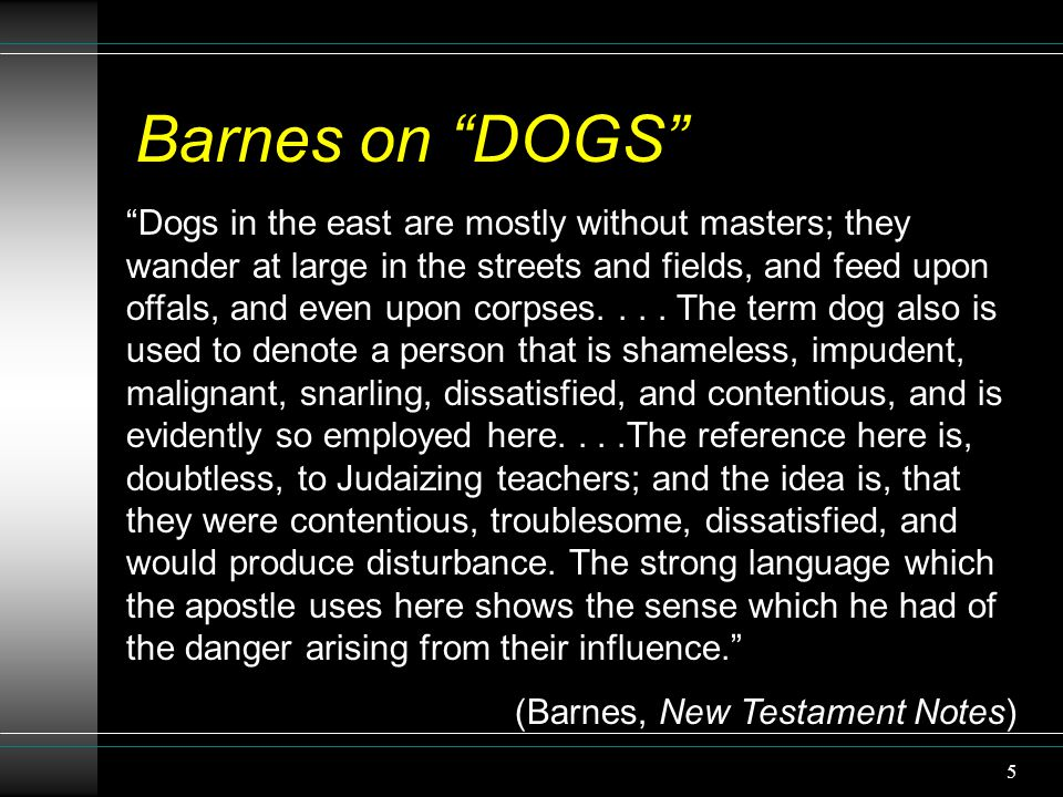 "5 Barnes on ""DOGS"" ""Dogs in the east are mostly without masters; they wander at large in the streets and fields, and feed upon offals, and even upon c"