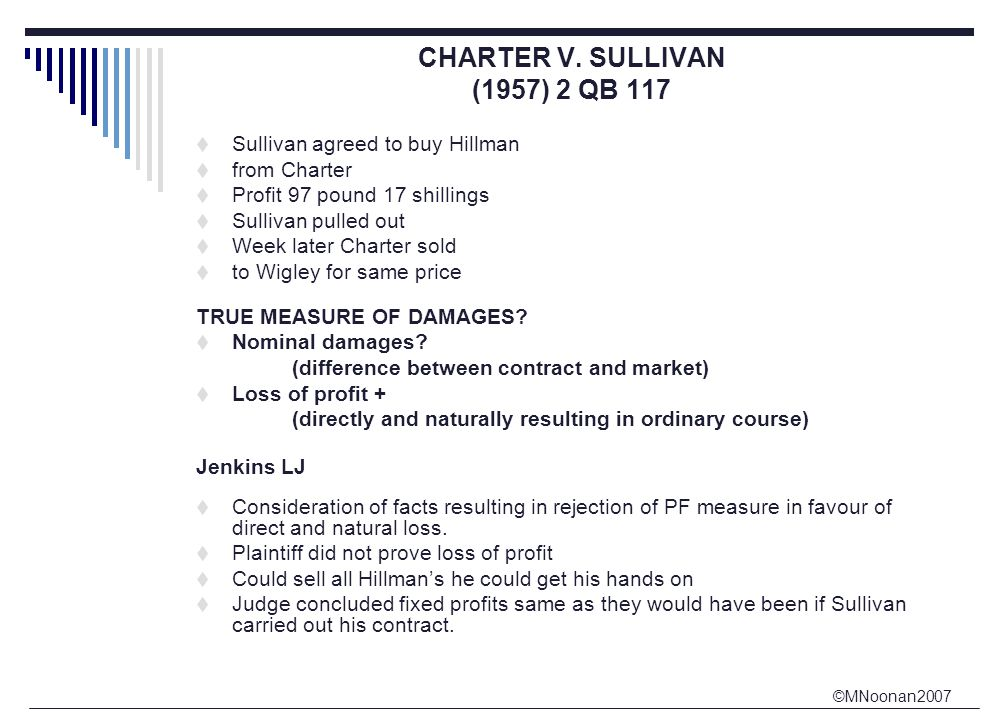 ©MNoonan2007 CHARTER V. SULLIVAN (1957) 2 QB 117  Sullivan agreed to buy Hillman  from Charter  Profit 97 pound 17 shillings  Sullivan pulled out