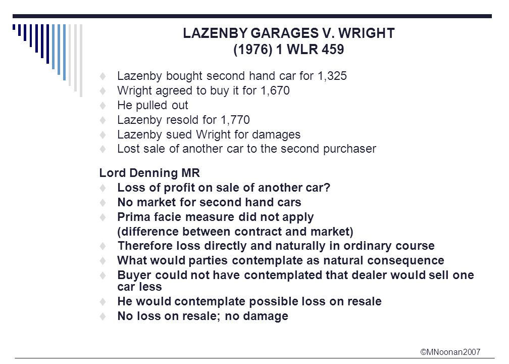 ©MNoonan2007 LAZENBY GARAGES V. WRIGHT (1976) 1 WLR 459  Lazenby bought second hand car for 1,325  Wright agreed to buy it for 1,670  He pulled out