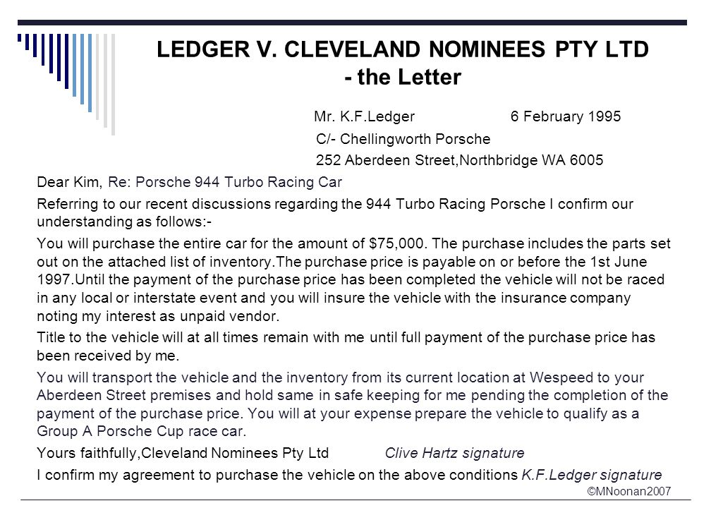 ©MNoonan2007 LEDGER V. CLEVELAND NOMINEES PTY LTD - the Letter Mr.