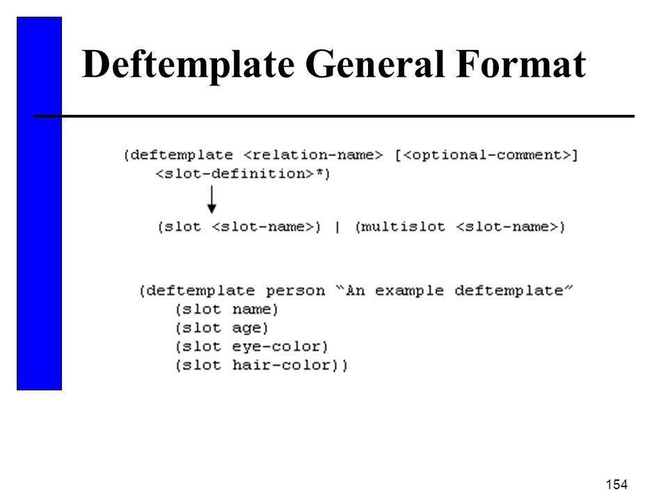 154 Deftemplate General Format