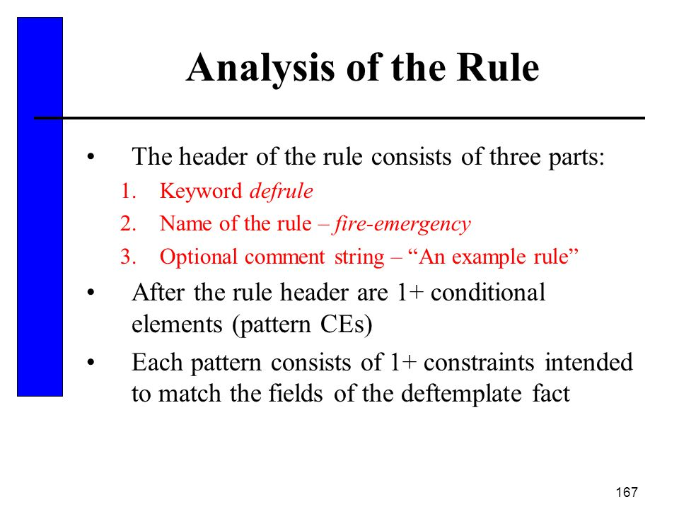167 Analysis of the Rule The header of the rule consists of three parts: 1.Keyword defrule 2.Name of the rule – fire-emergency 3.Optional comment stri
