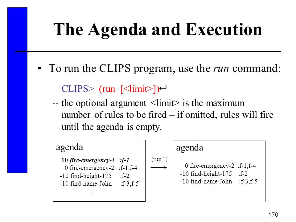 170 The Agenda and Execution To run the CLIPS program, use the run command: CLIPS> (run [ ])  -- the optional argument is the maximum number of rules